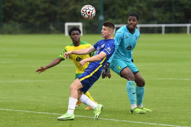 Ronnie Stutter of Chelsea scores the third goal during the Norwich City v Chelsea U18 Premier League match at the Lotus Training Ground on August 28,...