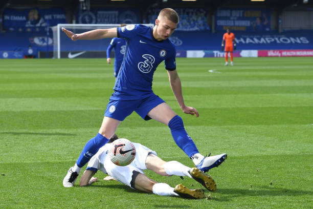 Ronnie Stutter of Chelsea wins the ball during the Chelsea U18 v AFC Fylde U18 FA Youth Cup at Kingsmeadow on April 2, 2021 in Kingston upon Thames,...