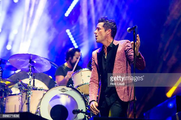 Ronnie Vannucci and Brandon Flowers of The Killers performs at Snowmass on September 3, 2016 in Aspen, Colorado.