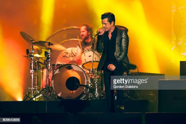 Ronnie Vannucci Jr and Brandon Flowers of The Killers perform live at Exit Festival 2017 on July 5 2017 in Novi Sad Serbia