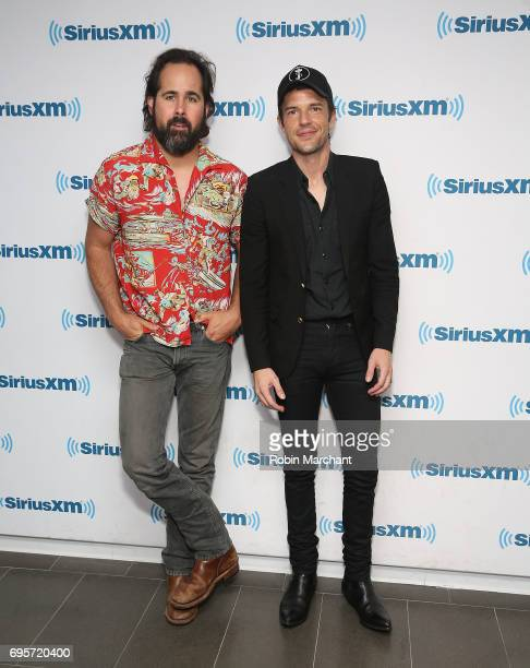 Ronnie Vannucci Jr and Brandon Flowers of the Killers visit at SiriusXM Studios on June 13 2017 in New York City