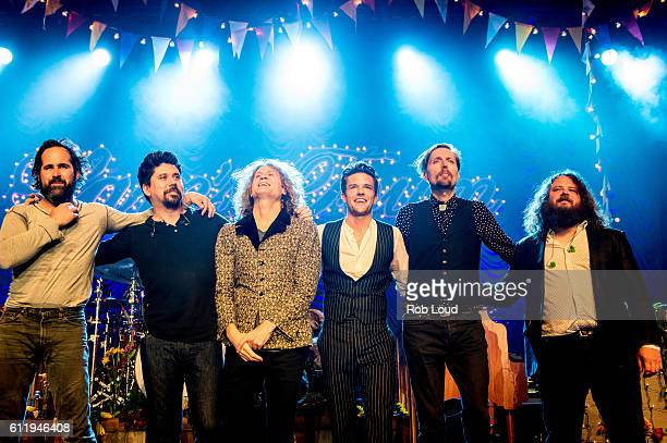 Ronnie Vannucci Ted Sablay Dave Kreuning Brandon Flowers Mark Stoermer and Jake Blanton of The Killers perform at The Killers' Sam's Town Decennial...