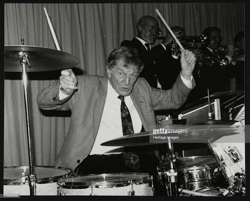 Ronnie Verrell on drums at The Fairway, Welwyn Garden City, Hertfordshire, 1991. Artist: Denis Williams : News Photo