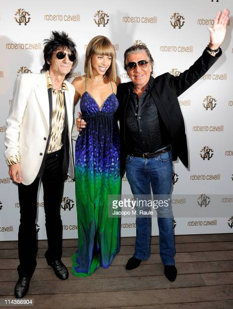 Ronnie Wood , Ana Araujo and Roberto Cavalli attend the Cavalli Boutique Opening during the 64th Annual Cannes Film Festival on May 18, 2011 in...