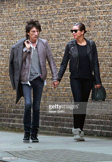 Ronnie Wood and Ana Araujo are seen on April 02 2011 in London United Kingdom