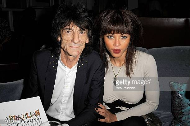 Ronnie Wood and Ana Araujo attend the gala opening night of London Brazilian Film Festival at BAFTA on September 6 2011 in London England
