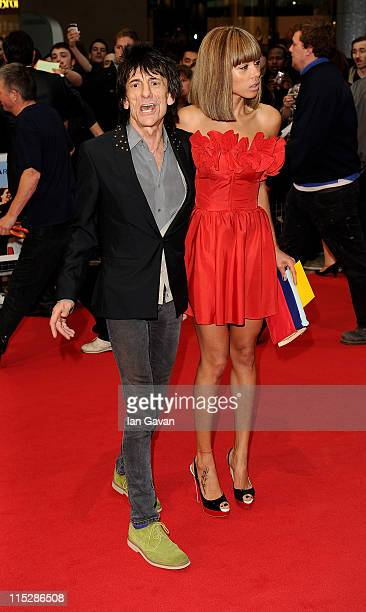 Ronnie Wood and Ana Araujo attend the UK Film Premiere of Larry Crowne at Vue Westfield on June 6 2011 in London England