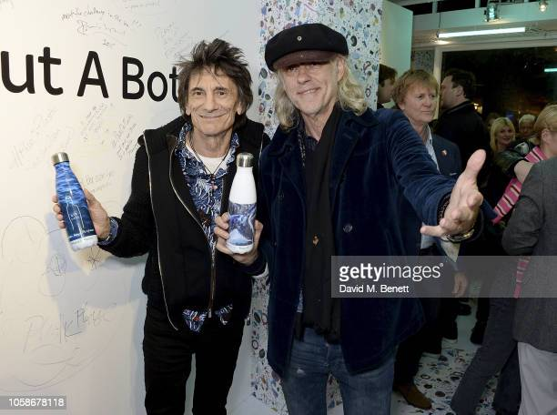 Ronnie Wood and Bob Geldof attend the launch of the Sky Ocean Rescue and Project 0 #PassOnPlastic Reusable Range designed by the likes of HRH Eugenie...