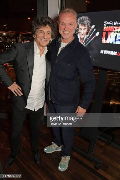 Ronnie Wood and Gary Kemp attend the World Premiere after party for Somebody Up There Likes Me during the 63rd BFI London Film Festival at The Deck...