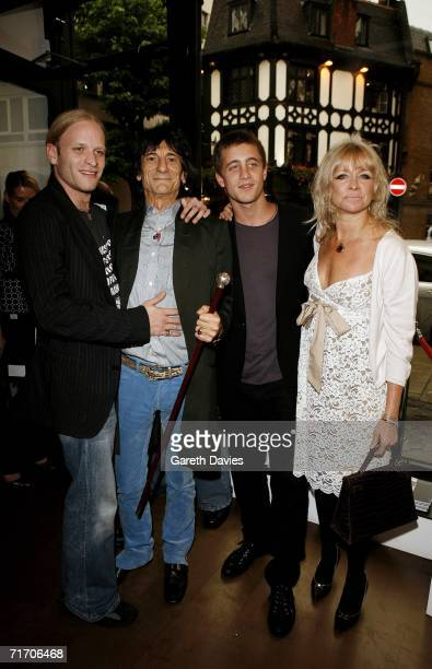 Ronnie Wood and his sons Ty and Jamie with wife Jo Howard attend a private view of paintings by Rolling Stones' guitarist Ronnie Wood at his son's...