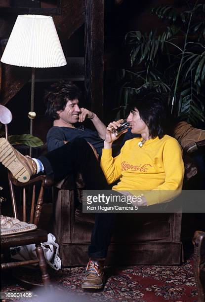 Ronnie Wood and Keith Richards of the Rolling Stones are photographed at Longview Farm in September 1981 in Worcester Massachusetts CREDIT MUST READ...