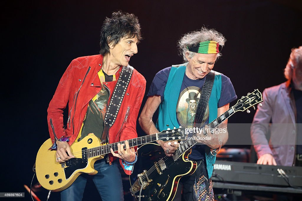 Ronnie Wood (L) and Keith Richards (R) on guitar as The Rolling Stones perform live at Mt Smart Stadium on November 22, 2014 in Auckland, New Zealand.