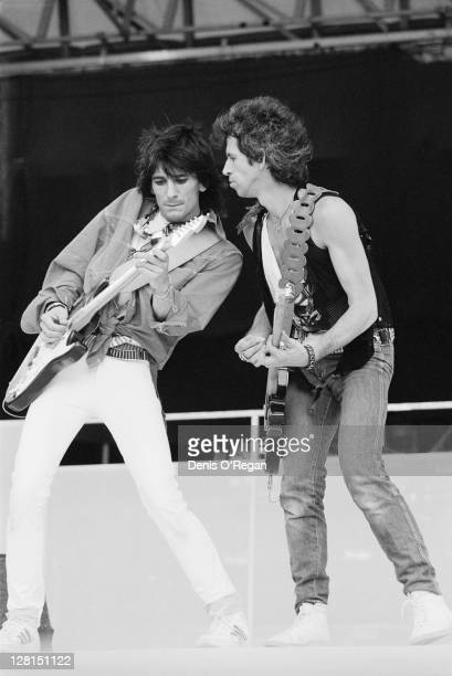 Ronnie Wood and Keith Richards performing with the Rolling Stones at the Ullevi stadium, Gothenburg, Sweden, June 1982.