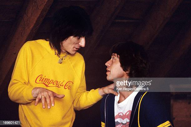 Ronnie Wood and Mick Jagger of the Rolling Stones are photographed while recording at Longview Farm in September 1981 in Worcester Massachusetts...