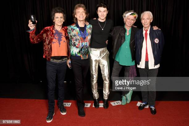 Ronnie Wood and Mick Jagger of The Rolling Stones James Bay Keith Richards and Charlie Watts of The Rolling Stones pose backstage during the 'No...
