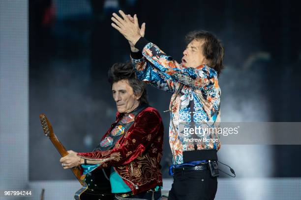 Ronnie Wood and Mick Jagger of The Rolling Stones perform live on stage at Old Trafford on June 5 2018 in Manchester England
