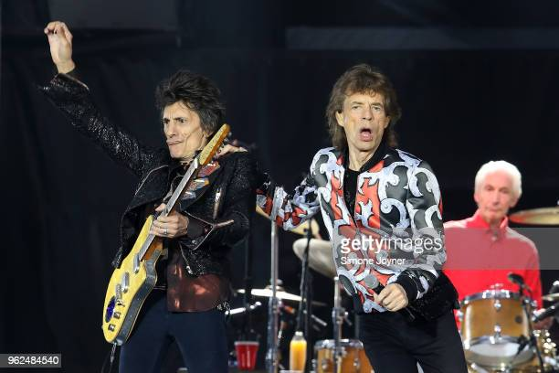 Ronnie Wood and Mick Jagger of The Rolling Stones perform live on stage during the 'No Filter' tour at The London Stadium on May 25 2018 in London...