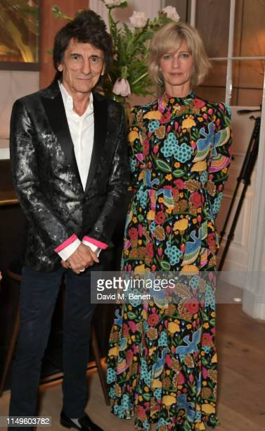 Ronnie Wood and Nicola Formby attend a dinner hosted by Skye Gyngell and the Trustees of Action on Addiction to celebrate Addiction Awareness Week at...