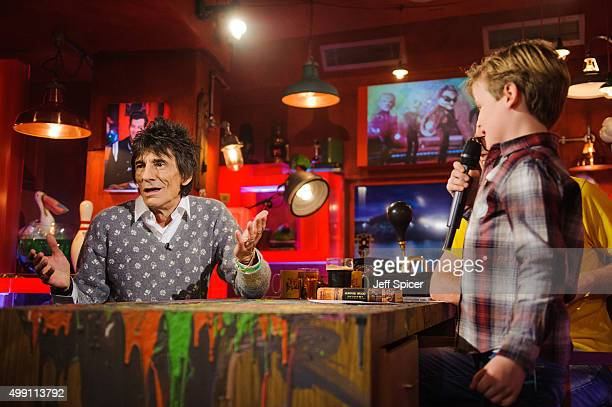 Ronnie Wood and Noah Evans during a live broadcast of 'TFI Friday' on November 27 2015 in London England