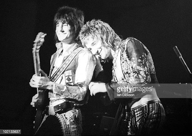 Ronnie Wood and Rod Stewart from The Faces perform live on stage at Newcastle City Hall on December 08 1972