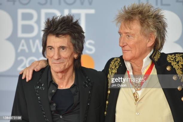Ronnie Wood and Rod Stewart of The Faces attend The BRIT Awards 2020 at The O2 Arena on February 18, 2020 in London, England.