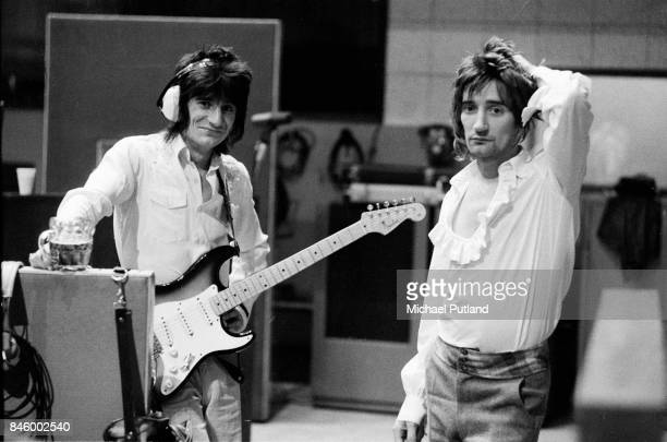 Ronnie Wood and Rod Stewart of The Faces during a recording session at Olympic Studios Barnes London October 1974