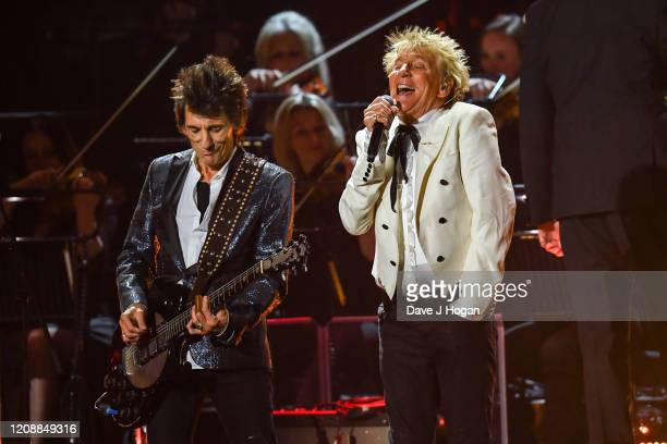 Ronnie Wood and Rod Stewart of The Faces perform live on stage during The BRIT Awards 2020 at The O2 Arena on February 18, 2020 in London, England.