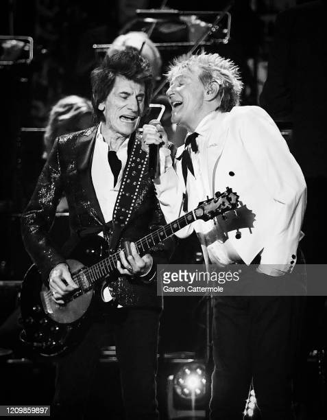 Ronnie Wood and Rod Stewart perform during The BRIT Awards 2020 at The O2 Arena on February 18, 2020 in London, England.