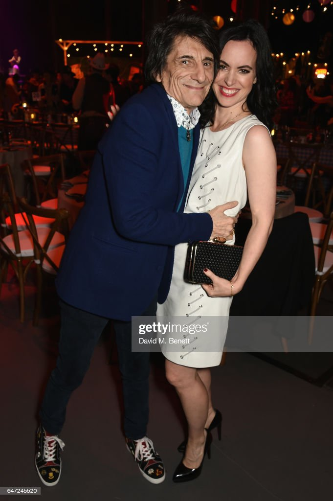 Ronnie Wood (L) and Sally Humphreys attend at a Night of Country at The Roundhouse on March 2, 2017 in London, England.