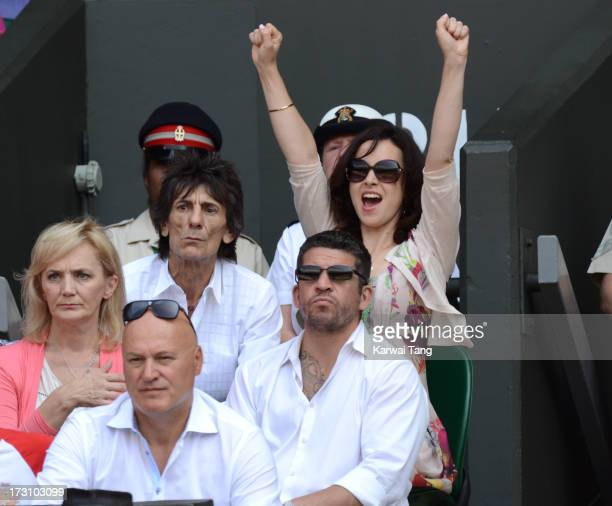 Ronnie Wood and Sally Humphreys attend the Men's Singles Final between Novak Djokovic and Andy Murray on Day 13 of the Wimbledon Lawn Tennis...