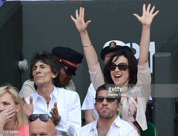 Ronnie Wood and Sally Humphreys attend the Mens Singles Final on Day 13 of the Wimbledon Lawn Tennis Championships at the All England Lawn Tennis and...