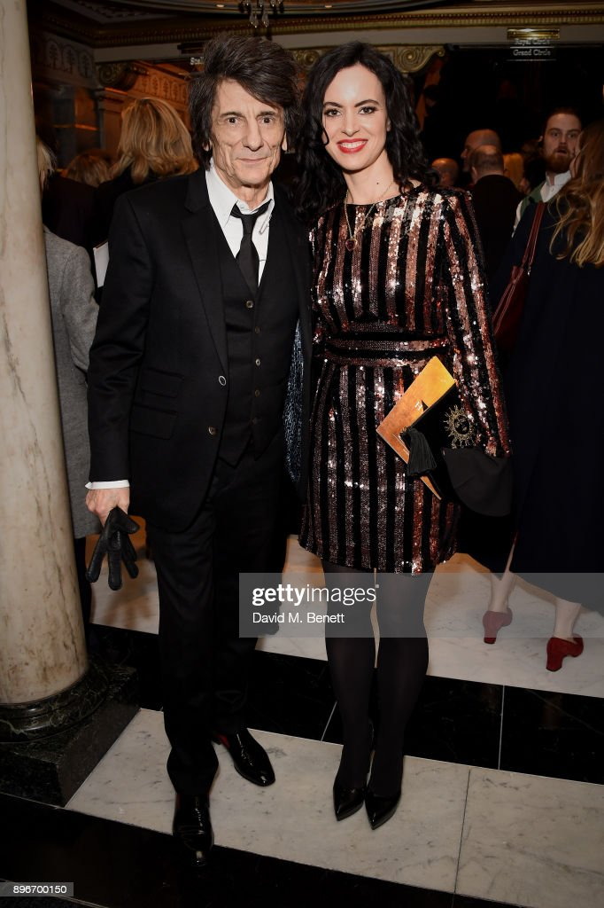 Ronnie Wood and Sally Humphreys attend the press night performance of 'Hamilton' at The Victoria Palace Theatre on December 21, 2017 in London, England.