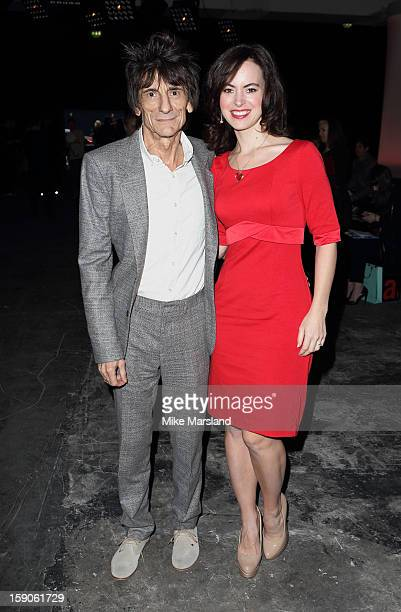 Ronnie Wood and Sally Humphreys attend the Topman Design show at the London Collections: MEN AW13 at The Old Sorting Office on January 7, 2013 in...