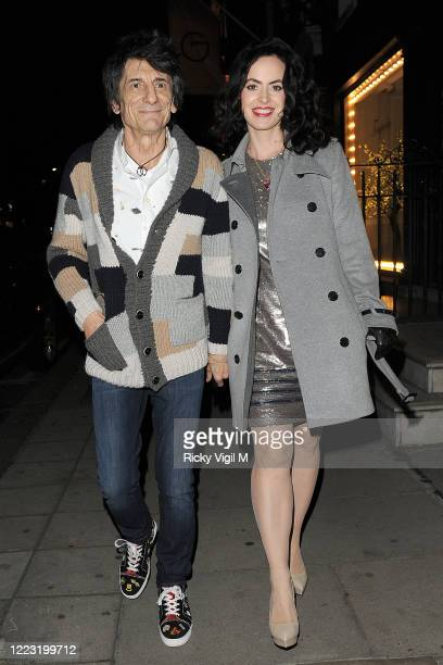 Ronnie Wood and Sally Humphreys seen attending Stella McCartney - Christmas Lights, annual in-store party on December 07, 2016 in London, England.