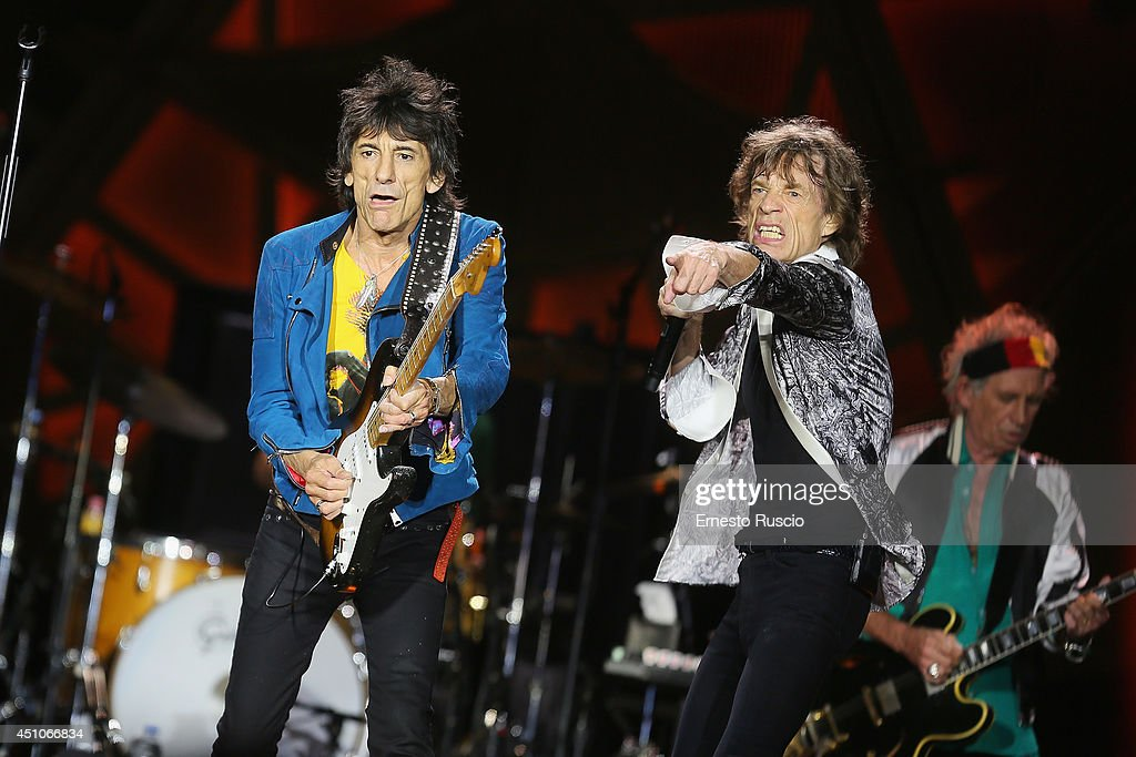 Ronnie Wood and Singer Mick Jagger perform at Circo Massimo on June 22, 2014 in Rome, Italy.