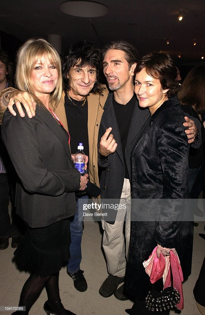 Ronnie Wood And Wife Jo With Damon Hill And Wife Georgie, The Grand Prix Ball At The Royal Albert Hall And He After Party At The Royal College Of Art, Celebraties Joined Motor Racing People To Help Raise Money For Doctor Sid Watkins Charity The Brain And Spine Foundation
