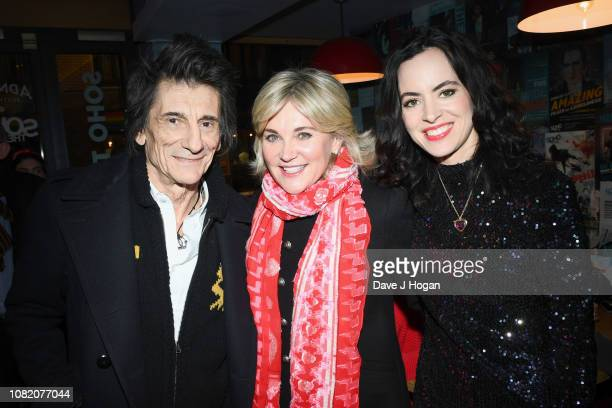 Ronnie Wood Anthea Turner and Sally Wood attend the opening night of Chasing Bono at Soho Theatre on December 13 2018 in London England