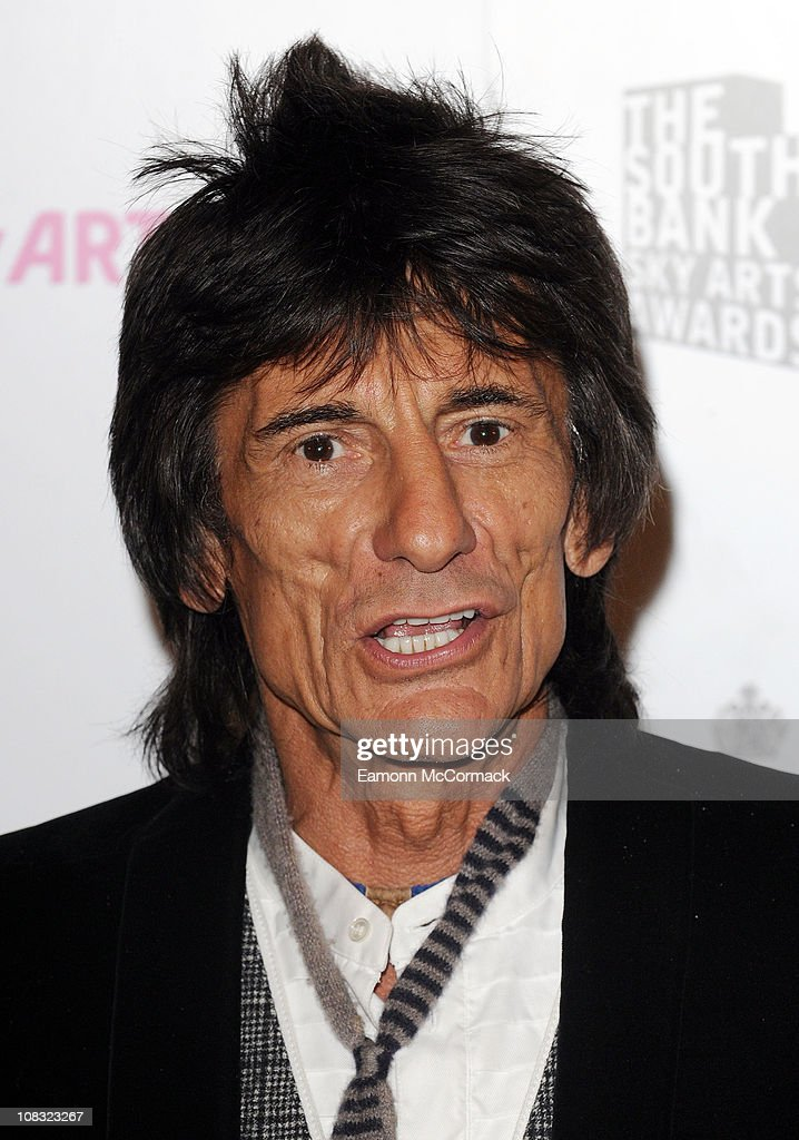 Ronnie Wood arrives at South Bank Sky Arts Awards at The Dorchester on January 25, 2011 in London, England.