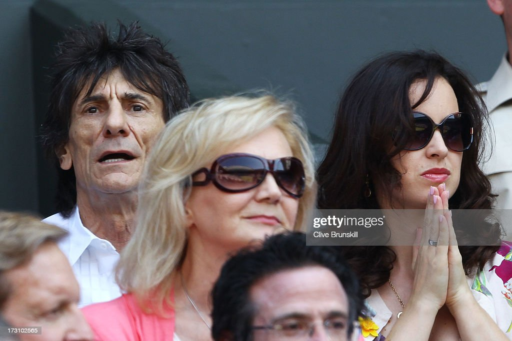 Ronnie Wood attends the Gentlemen's Singles Final match between Andy Murray of Great Britain and Novak Djokovic of Serbia on day thirteen of the Wimbledon Lawn Tennis Championships at the All England Lawn Tennis and Croquet Club on July 7, 2013 in London, England.