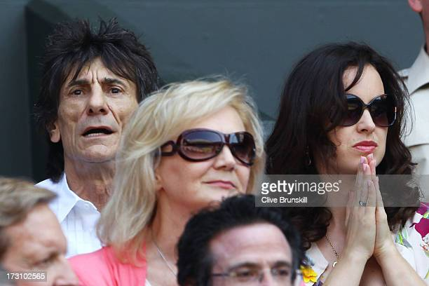 Ronnie Wood attends the Gentlemen's Singles Final match between Andy Murray of Great Britain and Novak Djokovic of Serbia on day thirteen of the...