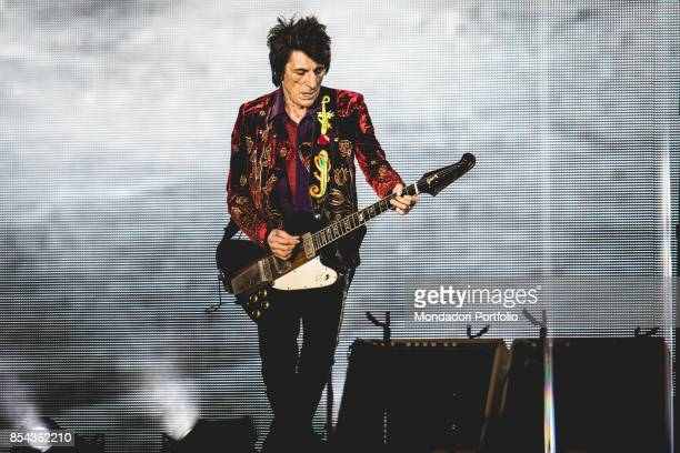 Ronnie Wood bassist of the British Rock band The Roling Stones performs at Lucca Summer Festival Lucca September 23 2017