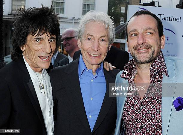 Ronnie Wood Charlie Watts and Guido Campigotto attend the launch of jockey Frankie Dettori's new restaurant 'Cavallino' on June 13 2011 in London...