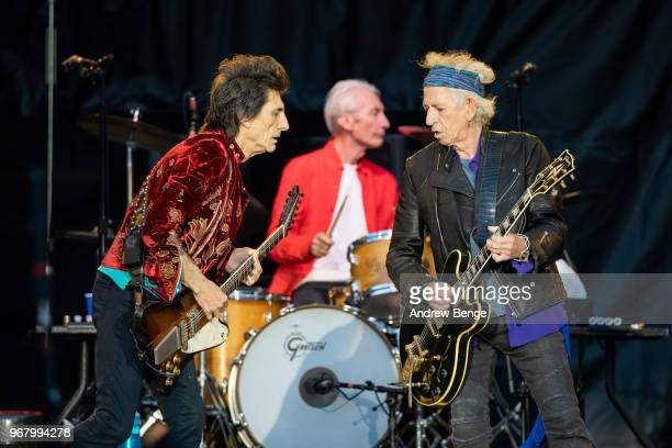 Ronnie Wood Charlie Watts and Keith Richards of The Rolling Stones perform live on stage at Old Trafford on June 5 2018 in Manchester England