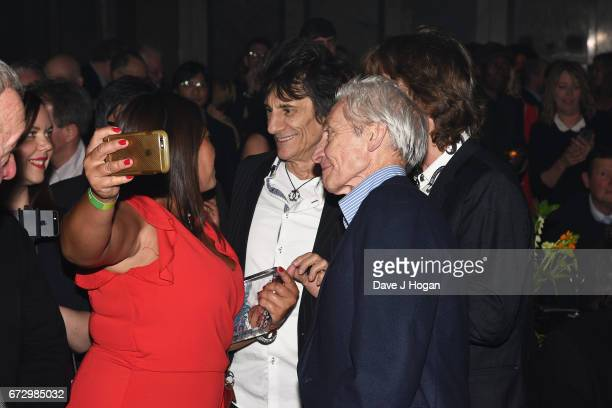 Ronnie Wood Charlie Watts and Mick Jagger of The Rolling Stones pose with fans at the Jazz FM Awards 2017 at Shoreditch Town Hall on April 25 2017 in...