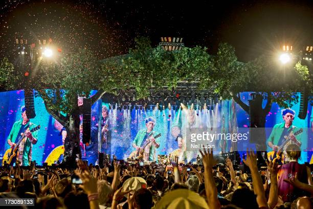 Ronnie Wood Charlie Watts Mick Jagger and Keith Richards and Mick Taylor of The Rolling Stones perform at day 2 of British Summer Time Hyde Park...