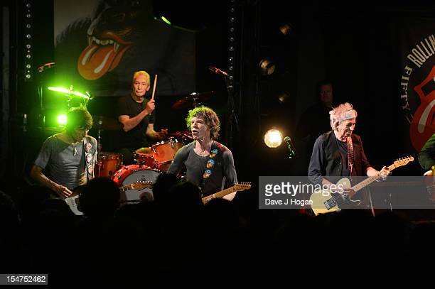 Ronnie Wood Charlie Watts Mick Jagger and Keith Richards of The Rolling Stones perform at a secret club gig for 600 lucky fans as the band warm up...