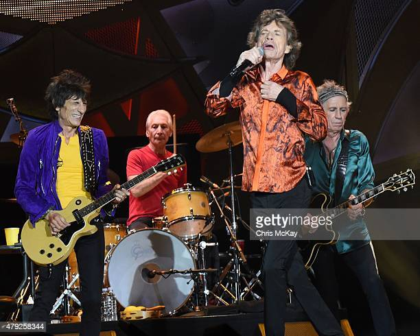 Ronnie Wood Charlie Watts Mick Jagger and Keith Richards of The Rolling Stones perform at Carter Finley Stadium on July 1 2015 in Raleigh North...
