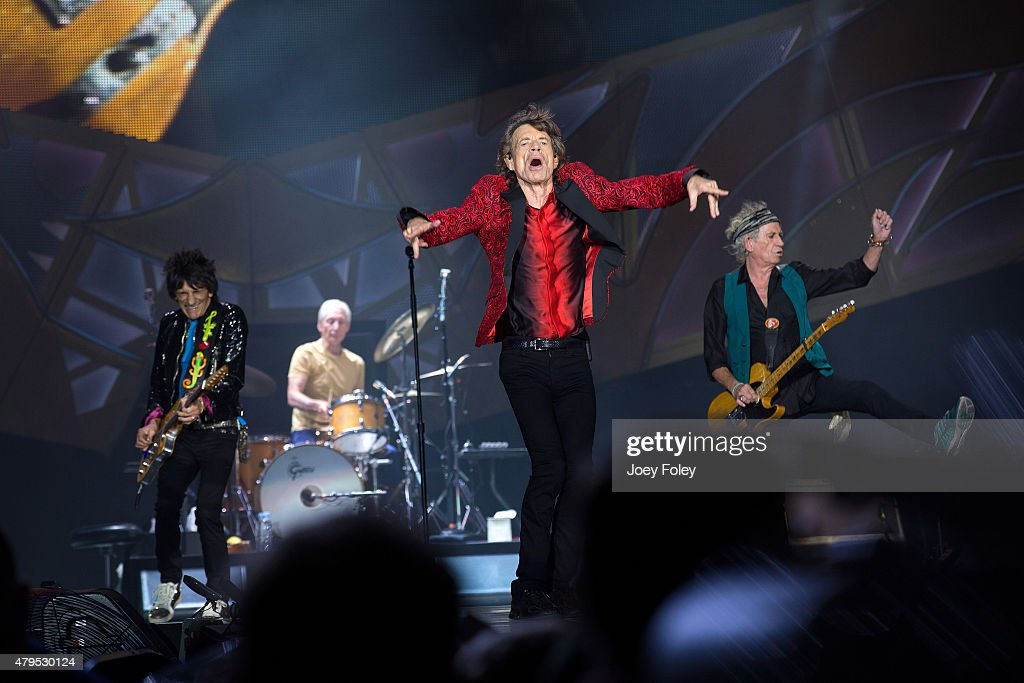 Ronnie Wood, Charlie Watts, Mick Jagger, and Keith Richards of The Rolling Stones performs live onstage at The Indianapolis Motor Speedway on July 4, 2015 in Indianapolis, Indiana.