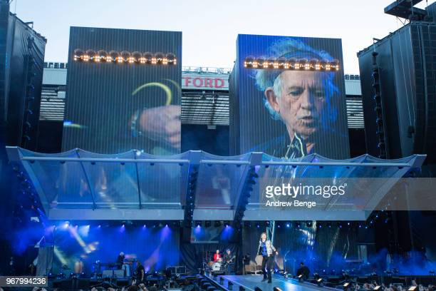 Ronnie Wood Charlie Watts Mick Jagger and Keith Richards of The Rolling Stones perform live on stage at Old Trafford on June 5 2018 in Manchester...
