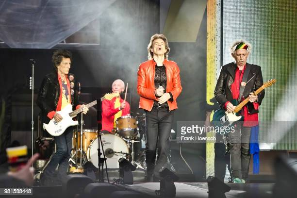 Ronnie Wood Charlie Watts Mick Jagger and Keith Richards of The Rolling Stones perform live on stage during a concert at the Olympiastadion on June...